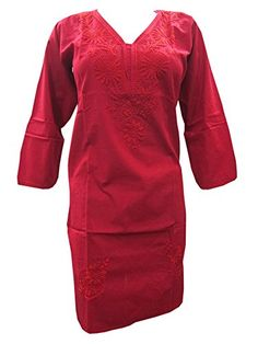 Red Indian Tunic Floral Hand Embroidered Cotton Long Kurti Dress Small Size Mogul Interior http://www.amazon.com/dp/B00NN814J2/ref=cm_sw_r_pi_dp_PTEgub0VJPC7P