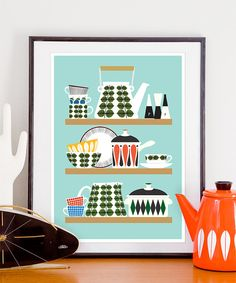 Scandinavian  Kitchen print, Stig Lindberg Bersa, Mid Century Modern poster, Retro Kitchen art, Kitchen decor, cooking print, A3