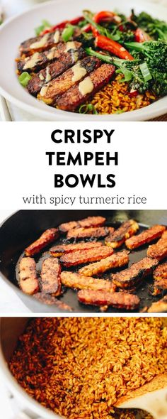 For a fully plant-based meal in one, whip up these crispy tempeh bowls with spicy turmeric rice topped with a tahini and tamari dressing. Filling, full of veggies and protein and a meal the whole family will love. #tempeh #tempehbowls #healthybowlrecipe #healthydinnerrecipe #plantbased #vegan #glutenfree