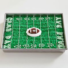 When it comes to winning desserts for your Super Bowl party, this one takes the cake. Deck your choice of cake -- vanilla, chocolate, marble, or pumpkin -- in a lush heap of green and white frosting to mimic a football field. Use a pastry bag with a ridged tip to create the grass and a smaller round tip for the numbers and lines. Chocolate frosting takes the 50 yard line in the form of a cute mini football.  /