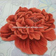 Beautiful 3D Flower Handmade Custom Wool Area Rug Shaped Carpet for Home and Living room
