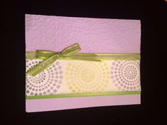 Card stalk, layered, with ribbon. Simple and easy. Great idea.