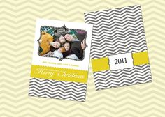Grey Chevron and Mustard Christmas Card Template - Photoshop PSD - Double sided. $6.00, via Etsy. 5x7 and sized for Costco
