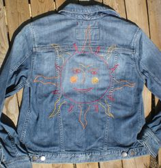 Jean Jacket hand Embroidered folk art sun celestial repurposed Eddie Bauer…