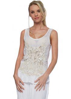 Antica Sartoria Lace & Beaded Fine White Cotton Zip Back Top