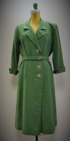 VTG 1940s Olive Military Green Wool Button Front Dress with Belt Rosie Riveter Army Secretary