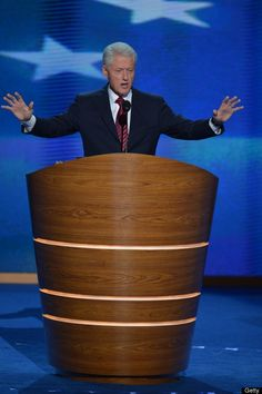 The 42nd President of the United States Bill Clinton addresses the audience at the Time Warner Cable Arena in Charlotte, North Carolina, on September 5, 2012 on the second day of the Democratic National Convention (DNC).