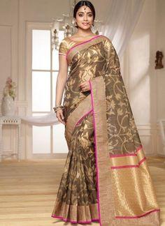 Designer indian saree, Grey and Beige banarasi silk embroidered sari, boat neck blouse now in shop. Andaaz Fashion brings latest designer ethnic wear collection in US Kora Silk Sarees, Banarasi Sarees, Indian Beauty Saree, Indian Sarees, Anarkali, Lehenga, Sari Design, Elegant Saree, Bollywood Saree