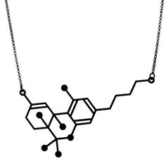 'THC Necklace' from the series 'Molecular Addictions' by Aroha Silhouettes
