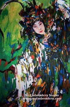 Peking Opera dancer, handmade embroidery painting, all hand embroidered with silk threads, Suzhou China,