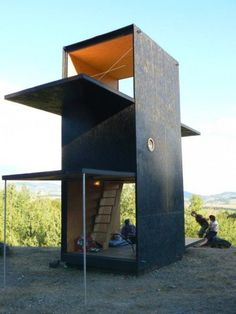 a modern platform cabin for the woods or beach umimo, small house, micro house, tiny house Architecture Design, Container Architecture, Sustainable Architecture, Folding Architecture, Small Buildings, Cabins In The Woods, Prefab, Little Houses, Interior And Exterior