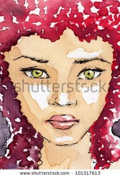 Stock Photo:  watercolor portrait of a woman.