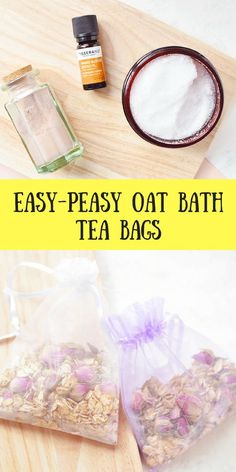 DIY Oat & Rose Bath Tea Bags These bath tea bags can be whipped up in under 10 minutes, they look be Diy Beauté, Diy Spa, Diy Tea Bags, Diy Bath Salt Tea Bags, Diy Peeling, Rose Bath, Bath Recipes, Rose Tea, Homemade Beauty Products