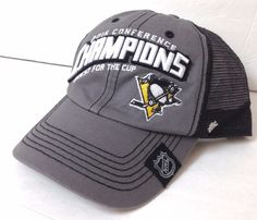 buy popular 92e57 24abf New 2016 PITTSBURGH PENGUINS CONFERENCE CHAMPIONS HAT Trucker Relaxed Fit  Mens  47Brand  PittsburghPenguins