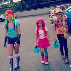 My little pony costumes for Halloween : Rainbow dash, Pinkie pie, Applejack Mlp cosplay