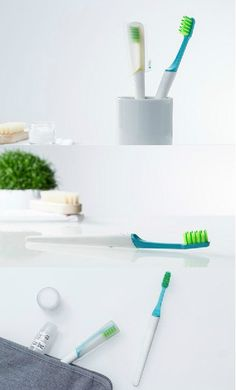 The common toothbrush is ready for a reboot! TIO reimagines the everyday toothbrush as a comprehensive oral care solution that combines the best elements of design and sustainability. Made from bioplastics and with a reusable brush handle and packaging that doubles as a travel case, its carbon footprint is as small as they come. #Toothbrush #Bathroom #Yankodesign