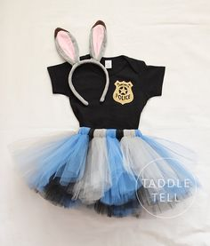 JUDY ZOOTOPIA Inspired Halloween Costume Tutu, Includes Tutu, Shirt, & Ear Headband - Sizes 18, 24 Months, 2t, 3t, 4t, 5t