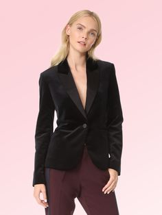 Diane von Furstenberg Black Medium Velvet One Button Closure Blazer Size 8 (M) Velvet Blazer, Black Media, Medium, Designing Women, Diane Von Furstenberg, Trendy Outfits, Korean Fashion, Coat, Jackets