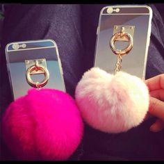 New iPhone case with back cover with furry ball! It's really cute looking iPhone cases for iPhone 5/5s/6/6s and 6 plus!! And I have them white,light pink,and shocking pink color!Make an offer.And ask if you have any questions!! Accessories Phone Cases