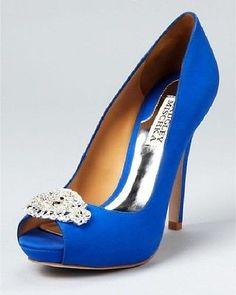 NIB $245 Badgley Mischka Goodie Royal Something Blue Wedding Bridal Heels 8