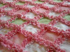 Rag quilt Pink and Green LaDYBuG GiRL Flannel by mylittlehedgehog