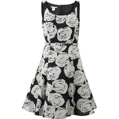Oscar De La Renta Floral Applique Belted Dress ($3,690) ❤ liked on Polyvore featuring dresses, knee-length dresses, silk floral dress, floral print dress, silk dress and winter white dress
