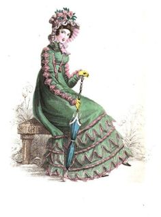 La Belle Assemblee, June 1820.  Morning Visiting Dress. I love the bold, contrasting colors on this gown and the trim down the sleeves and on the skirts is amazing.  Adorable parasol, too!