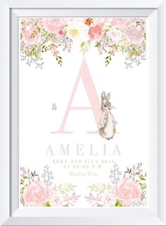 Personalised baby child Peter Rabbit print picture gift nursery art name wallet Baby Nursery Art, Nursery Prints, Bunny Nursery, Personalised Prints, Personalized Baby, Cuadros Diy, Peter Rabbit Nursery, Baby Posters, Baby Shower Invitaciones
