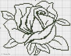 Rosebud on grid Crochet Chart, Crochet Motif, Crochet Stitches, Crochet Patterns, Cross Stitching, Cross Stitch Embroidery, Hand Embroidery, Cross Stitch Patterns, Cross Stitch Heart