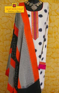 Ikat semi stitched kurta dupatta Indian Suits, Indian Wear, Classy Suits, Kurti Patterns, Dress Neck Designs, Tie Dye Dress, Kurta Designs, Indian Clothes, Indian Designer Wear