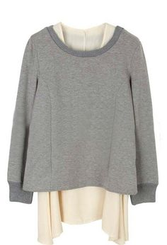 Layered. Grey Long Sleeve Backless Pleated Two Pieces Sweatshirt