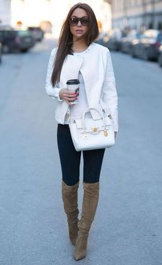 White jacket bag trousers office attire women fashion outfit clothing style apparel