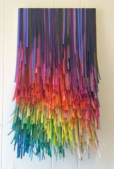 Paper Party Fade Rainbow by Bonnie Gammill Mixed Paper on Wood Panel x Taste The Rainbow, Over The Rainbow, Diy And Crafts, Arts And Crafts, Paper Crafts, Origami, Colorful Party, World Of Color, Rainbow Colors