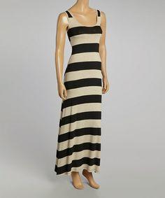 Look what I found on #zulily! Taupe & Black Stripe Scoop Neck Maxi Dress #zulilyfinds