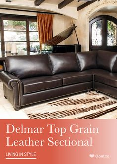 Reclining Sofa Sophisticated and transitional the Delmar Top Grain Leather Sectional by Abbyson Living will bring versatility and