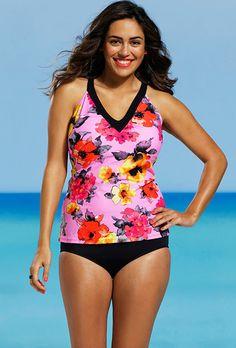 Shore Club Plus Size Blossom V Neck Tankini