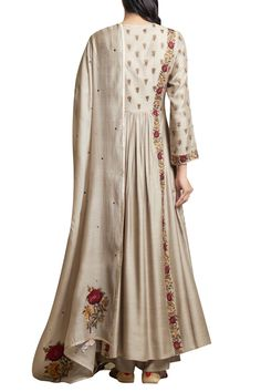 Shop Sue Mue Embroidered Anarkali Kurta and Palazzo Set , Exclusive Indian Designer Latest Collections Available at Aza Fashions Hand Embroidery Dress, Embroidery Suits Design, Embroidery Fashion, Indian Attire, Indian Outfits, Indian Wear, Dress Neck Designs, Blouse Designs, Kurta Style