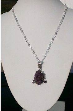 Amethyst Druzy and Rainbow Topaz Sterling Silver by DonnaJJewelry https://www.facebook.com/DonnaJJewelry Like DDJ for updates and sales for my FB fans
