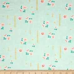 Michael Miller Brambleberry Ridge Rosemilk Metallic Mint from @fabricdotcom  Designed by Violet Craft for Michael Miller, this cotton print features metallic gold foil printing and is perfect for quilting, apparel and home decor accents.  Colors include white, pink, coral, mint, turquoise and metallic gold.