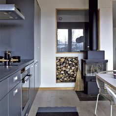 Grey gloss units are a great feature in this compact kitchen. A wood burning stove keeps the open plan living space toasty.  http://www.housetohome.co.uk/kitchen/picture/grey-nature-inspired-kitchen