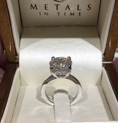 When you want to be elegant and make a statement; get her a 6 carat diamond. Come visit us in Downtown Royal Oak, MI Royal Oak, Diamond Engagement Rings, Wedding Rings, Elegant, Metal, Bracelets, How To Make, House, Jewelry