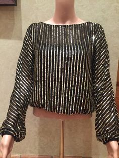 clothing-accessories: Aidan Mattox Womens Black With Gold Sequin Long Sleeve Top-Size S #Fashion - Aidan Mattox Womens Black With Gold Sequin Long Sleeve Top-Size S...