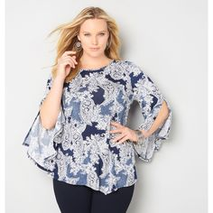 Avenue Plus Size Puff Paisley Bell Sleeve Top ($25) ❤ liked on Polyvore featuring tops, navy, plus size, boho tops, plus size bell sleeve tops, bell sleeve tops, plus size tops and bohemian tops