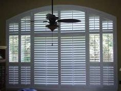 Plantation Shutters for Arched Windows. Maybe a good solution for the top 4 windows in our living room House, Windows, Shades Blinds, New Homes, Blinds For Windows, House Interior, Arched Windows, Great Rooms, Window Treatments