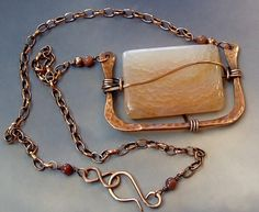 Peachy Agate in Hammered Copper Necklace