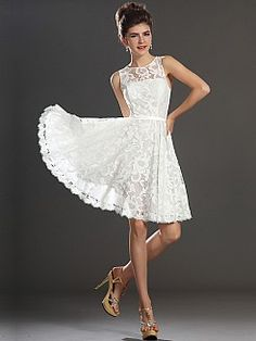 Allover Lace Sleeveless A Line Short Reception Dress - USD $89.99