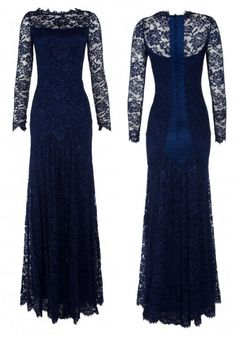 Navy Blue, Long Sleeved, Lace Temperley Dress