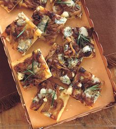 Blue Cheese and Caramelized-Onion Squares - Bon Appétit