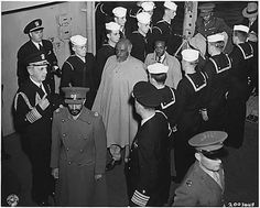 Visit of Emperor Haile Selassie I of Ethiopia on the United States Navy ship USS Qunicy in Great Bitter Lake Egypt Feb 13 1945. (Ras Kassa behind the Emperor )