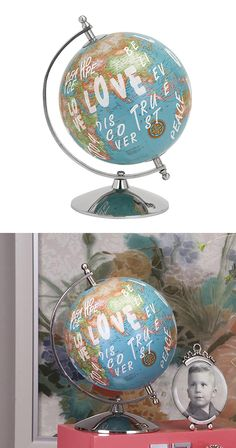 Covered in inspiring graffiti the World Peace Globe is a charming choice for the retro or contemporary den or study. A fun addition, this vintage-style piece features a sleek aluminum stand and plenty ... Find the World Peace Globe, as seen in the Oddities & Desk Collection at http://dotandbo.com/category/decor-and-pillows/oddities-and-desk?utm_source=pinterest&utm_medium=organic&db_sku=114974